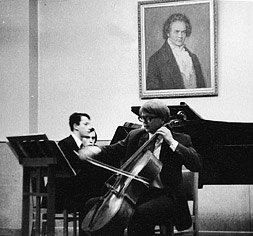 Performing Beethoven Cello Sonata with Anatoly Pogorelov, at he Gnessins Music Academy, Moscow, early 1970s