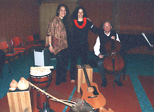 Recording session with two Polynesian folk musicians and their instruments. New Zealand, 2006