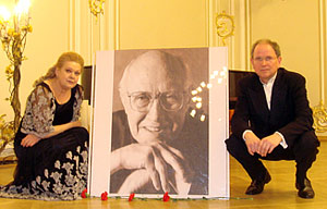 Alexander Ivashkin and Irina Schnittke after the Rostropovich in Memoiriam Concert in the Hall of St. Petersburg Philharmonia, 2008