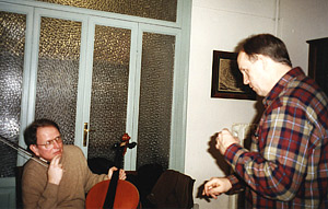 With Bruce Carlson in Cremona, adjusting the newly made cello